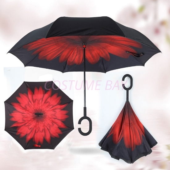 Picture of Upside Down Reverse Umbrella - Red Daisy