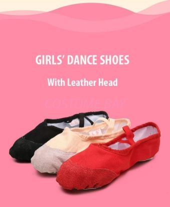 Picture of Canvas Ballet Dance Shoes with Leather Head and Split Sole